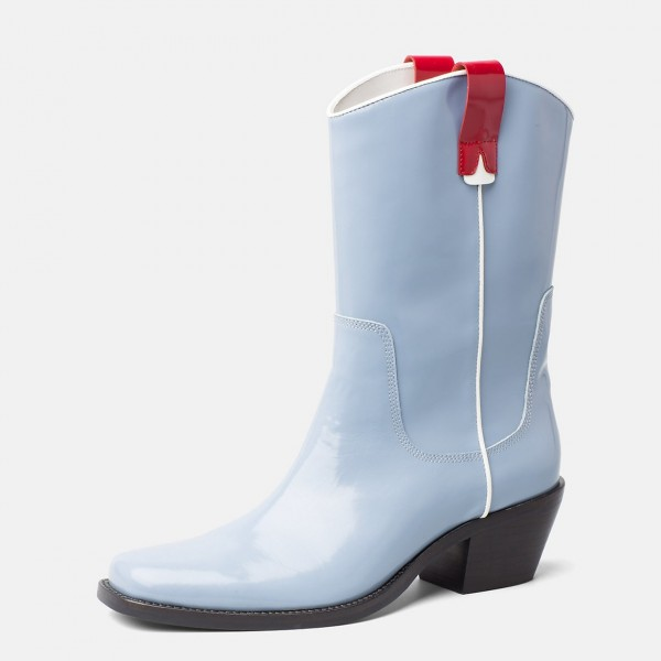 Light Blue Western Boots Patent Leather Chunky Heel Mid Calf Boots image 1