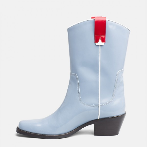 5d7eff288fb ... Light Blue Western Boots Patent Leather Chunky Heel Mid Calf Boots  image 3 ...
