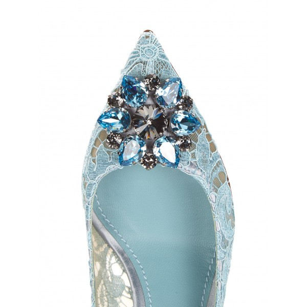 Light Blue Wedding Shoes Lace Heels Pointy Toe Rhinestone Pumps image 2