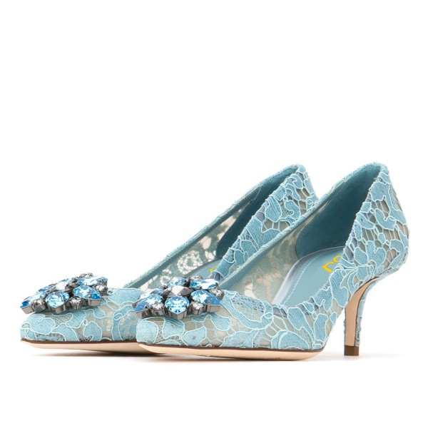 Light Blue Wedding Shoes Lace Heels Pointy Toe Rhinestone Pumps image 1