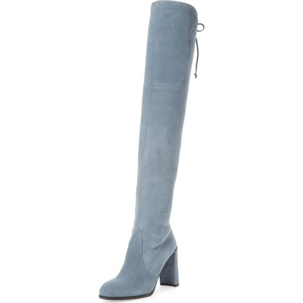 Dusty Blue High Boots Round Toe Suede Chunky Heel Over-the-Knee Boots image 1