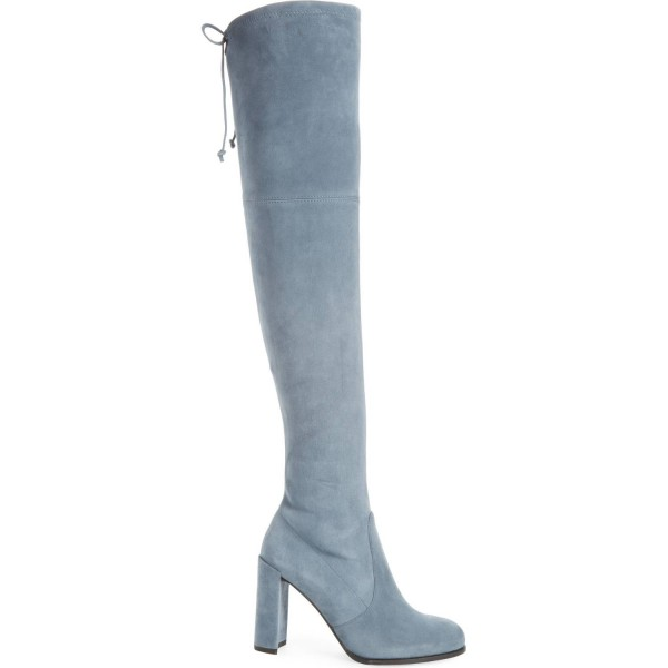 Dusty Blue High Boots Round Toe Suede Chunky Heel Over-the-Knee Boots image 2
