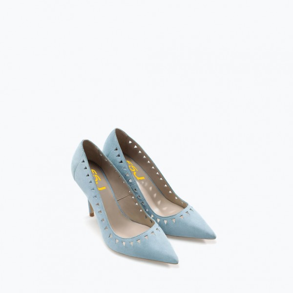 Women's Light Blue Hollow Out Stiletto Heels Pumps image 3