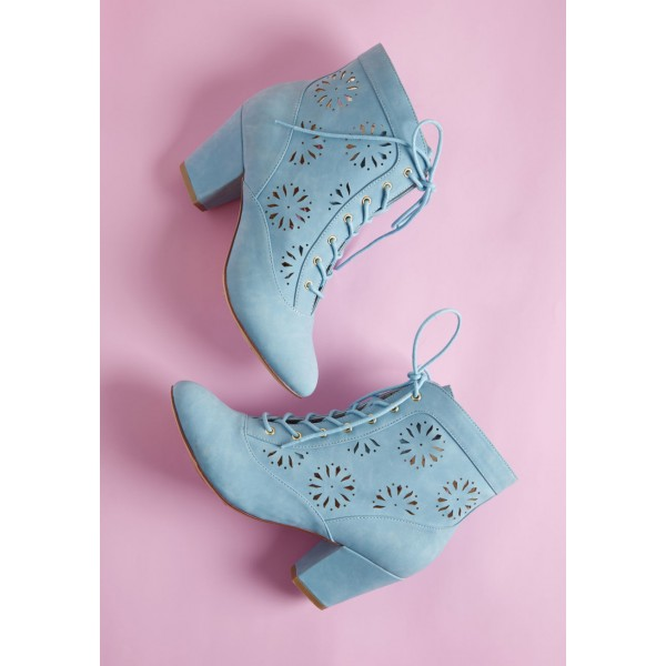 Light Blue Vintage Boots Hollow Out Lace up Ankle Booties image 3
