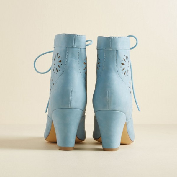 Light Blue Vintage Boots Hollow Out Lace up Ankle Booties image 2