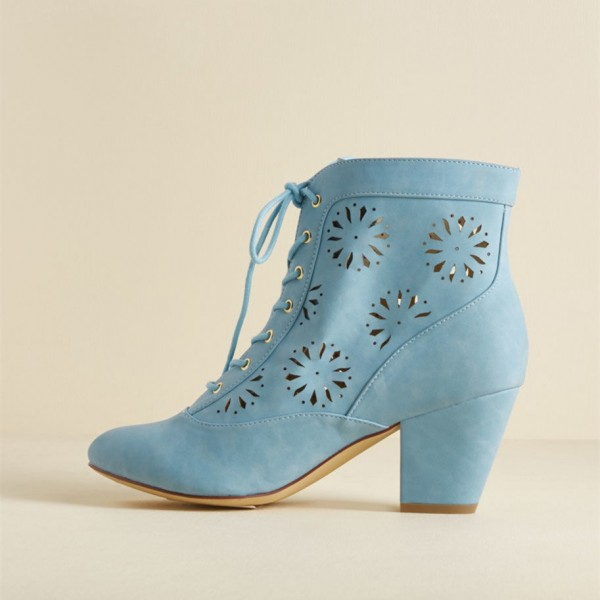 Light Blue Vintage Boots Hollow Out Lace up Ankle Booties image 1