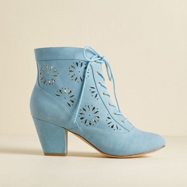 Light Blue Vintage Boots Hollow Out Lace up Ankle Booties image 4