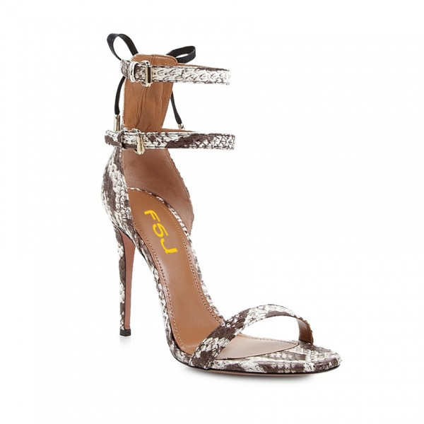 Coffee Color Snakeskin Open Toe Stiletto Heels Ankle Straps Sandals image 2