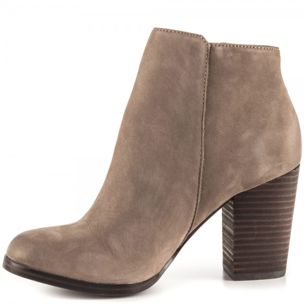 Light Brown Vintage Boots Round Toe Chunky Heel Ankle Boots  image 3