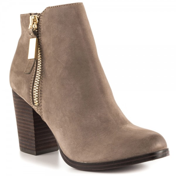 Light Brown Vintage Boots Round Toe Chunky Heel Ankle Boots  image 4