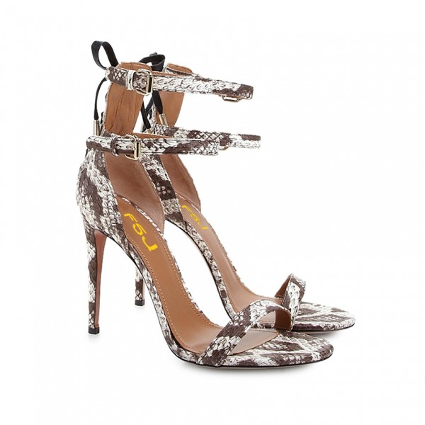 Coffee Color Snakeskin Open Toe Stiletto Heels Ankle Straps Sandals image 3