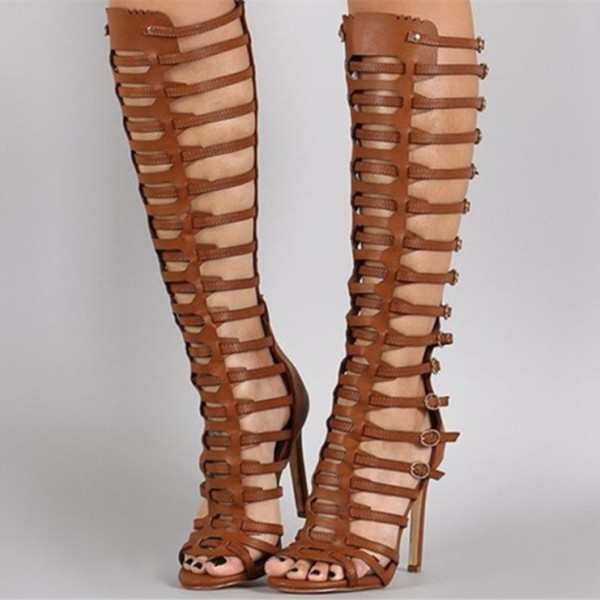 0a0b949b43d2 Tan Stiletto Heel Knee-high Gladiator Heels Sandals for Party ...