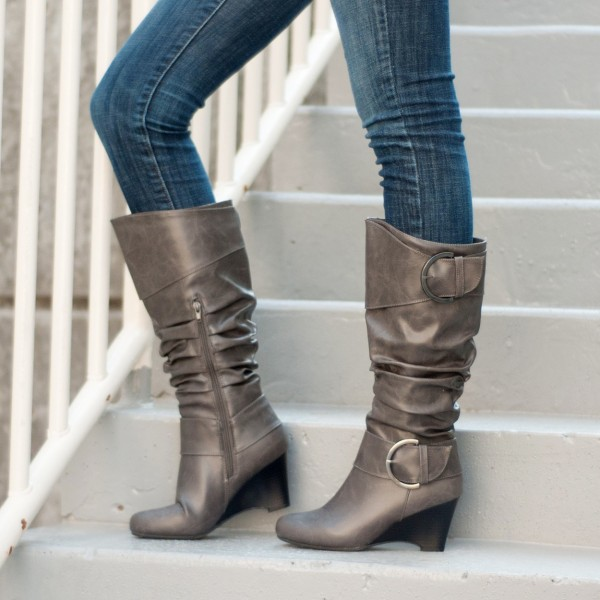 Light Brown Slouch Boots Buckles Wedge Heel Mid Calf Boots image 1