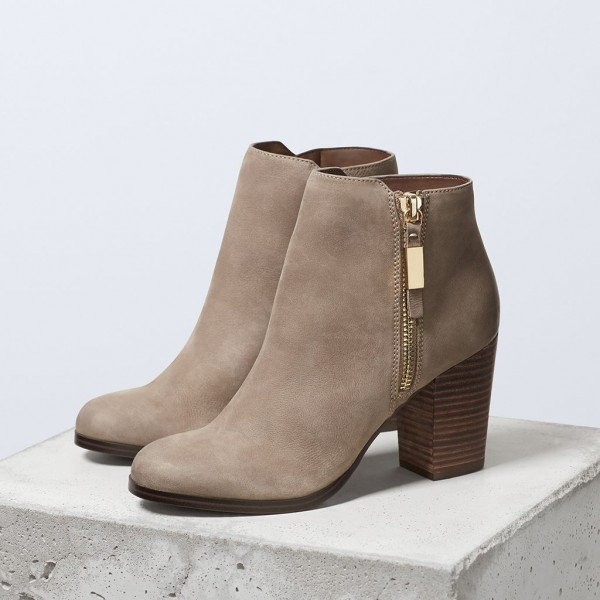 Light Brown Vintage Boots Round Toe Chunky Heel Ankle Boots  image 1