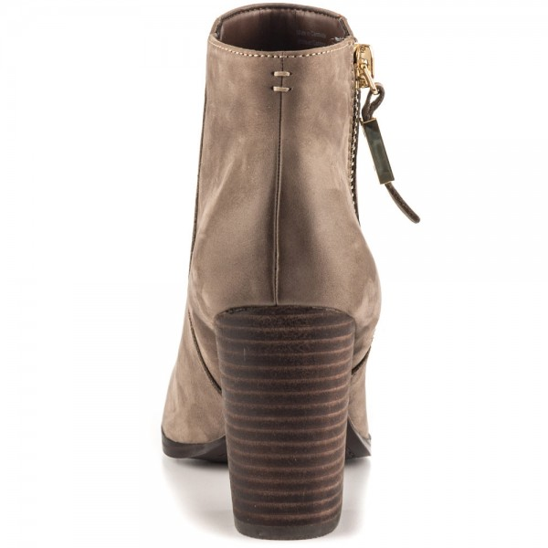 Light Brown Vintage Boots Round Toe Chunky Heel Ankle Boots  image 2