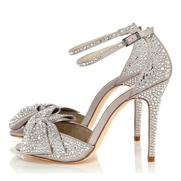 Light Grey Ankle Strap Sandals Rhinestone Hotfix Bow Bridal Sandals image 1