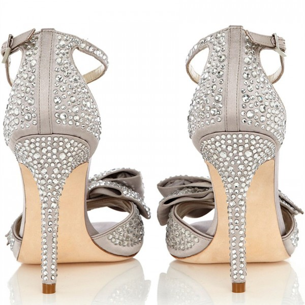 Light Grey Ankle Strap Sandals Rhinestone Hotfix Bow Bridal Sandals image 4