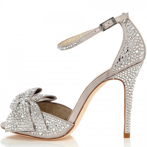 Light Grey Ankle Strap Sandals Rhinestone Hotfix Bow Bridal Sandals image 3