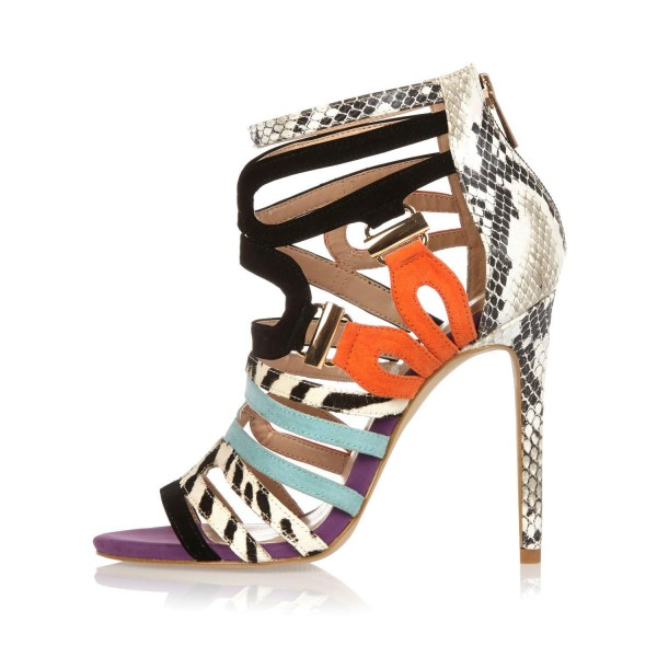 Women's Light Grey Strappy Sandals Python Open Toe Stiletto Heels image 1