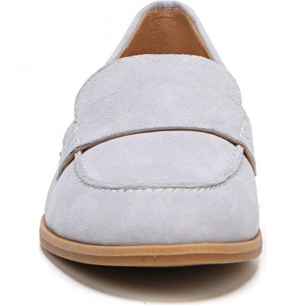 Light Grey Suede Strap Flats Loafers