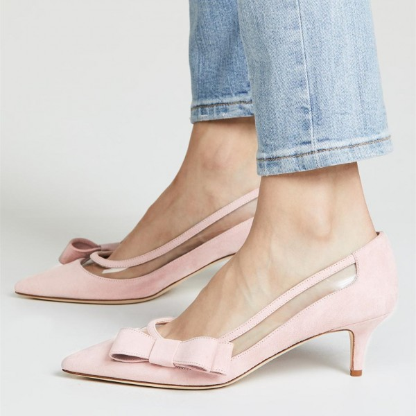 Light Pink Kitten Heels Suede Clear PVC Bow Pumps image 1