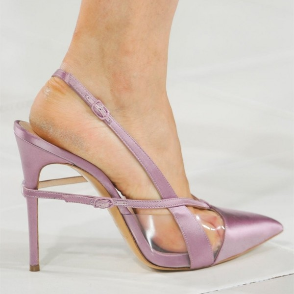 Light Purple Pointy Toe PVC and Satin Fashion Slingback Heels Sandals image 7