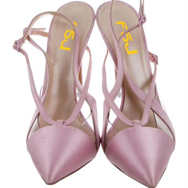 Lighet Purple Pointy Toe PVC and Satin Fashion Slingback Heels Sandals image 12