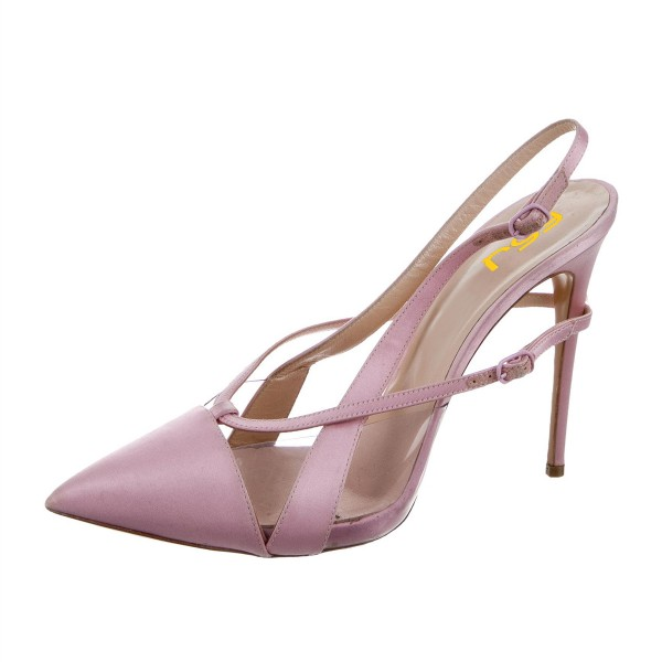 Light Purple Pointy Toe PVC and Satin Fashion Slingback Heels Sandals image 4