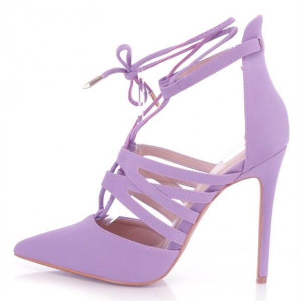 Lilac Lace up Heels Pointy Toe Stiletto Heel Pumps US Size 3-15 image 2