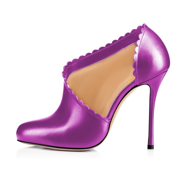 Light Purple Summer Boots Laciness Cut out Stiletto Heel Booties image 3
