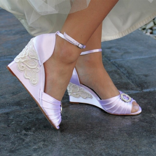 Orchid Bridal Sandals Satin Peep Toe Ankle Strap Wedge Heels image 2