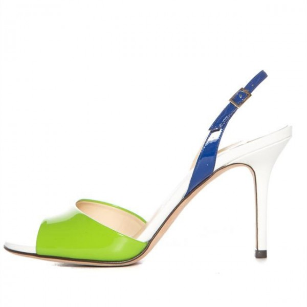 Avocado Green and Navy Slingback Heels Patent Leather Sandals image 1