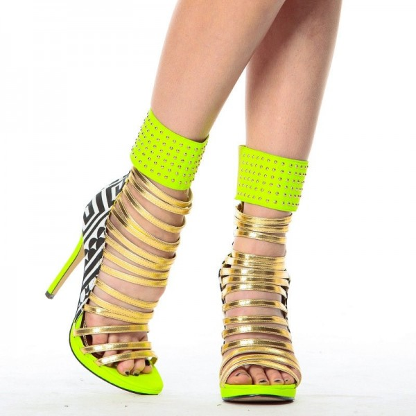 Lime Green Gladiator Sandals Open Toe Stiletto Strappy Heels For Women image 4