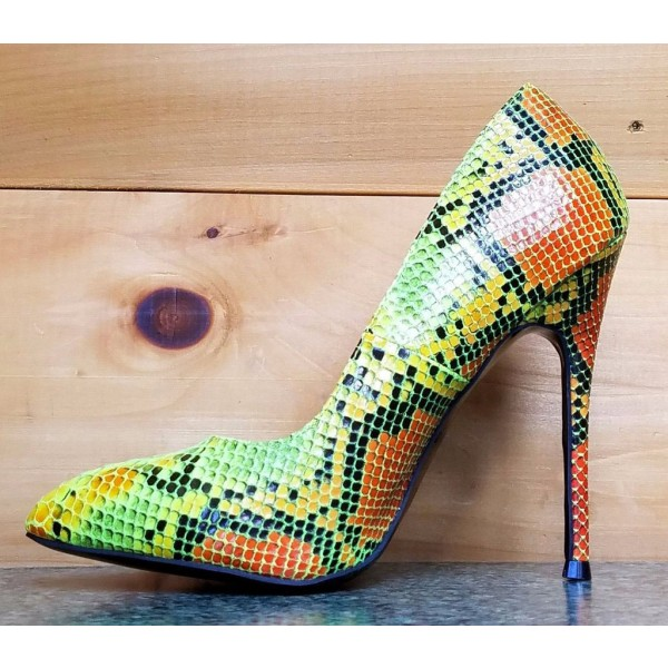 Multi-color Stiletto Heels Colorful Python Pointy Toe Pump Dress Shoes image 4