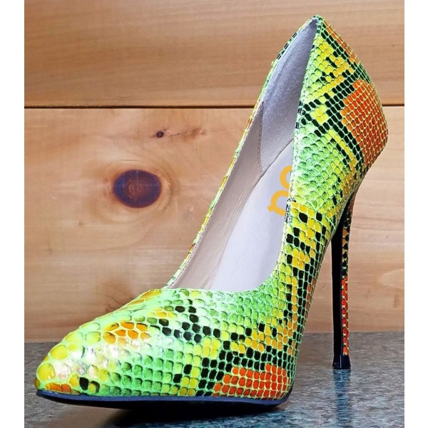 Multi-color Stiletto Heels Colorful Python Pointy Toe Pump Dress Shoes image 1