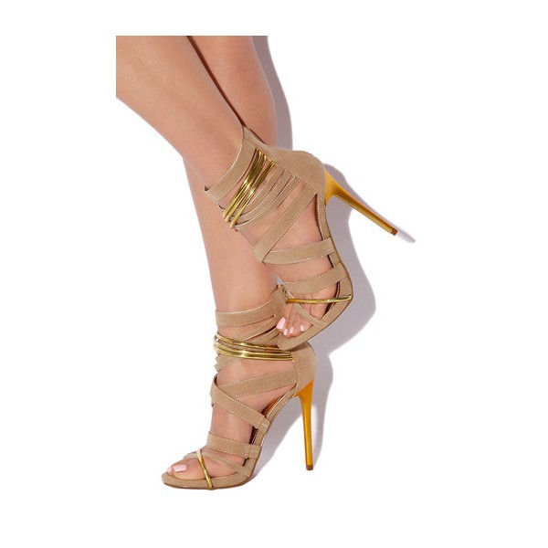 Women's Khaki Suede Strappy Stiletto Ankle Strap Sandals image 1