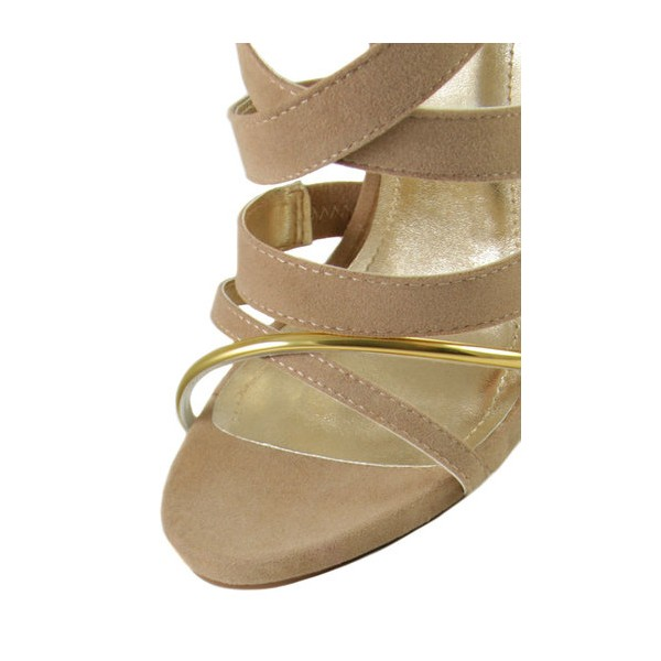 Women's Khaki Suede Strappy Stiletto Ankle Strap Sandals image 3