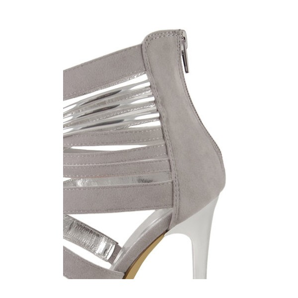 Women's Grey Suede Strappy Stiletto Heels Ankle Strap Sandals image 2