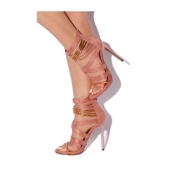 Pink and Gold Strappy Sandals Suede Stiletto Heels  image 1
