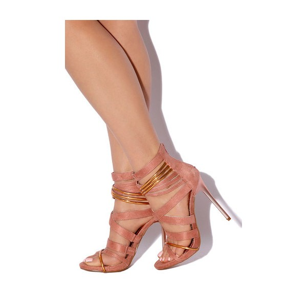 Pink and Gold Strappy Sandals Suede Stiletto Heels  image 2