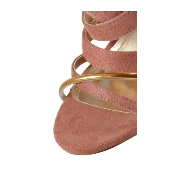 Pink and Gold Strappy Sandals Suede Stiletto Heels  image 3