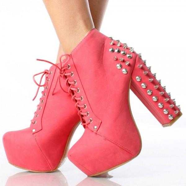 Lovely Pink Rivets Lace Up Boots Chunky Heels Platform Ankle Boots image 1