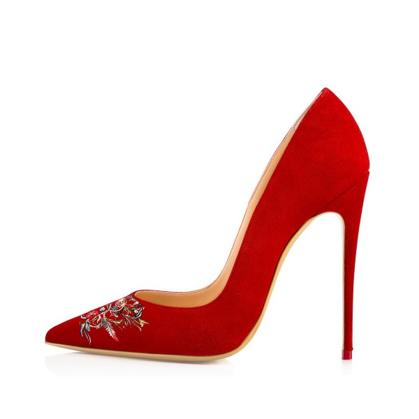 Women's Pointed Toe Red Suede Floral Office Heels Pumps image 2