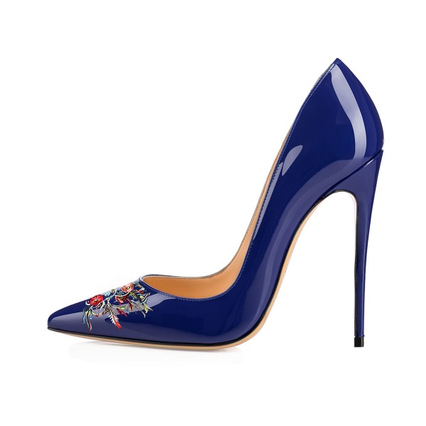 Women's Navy Pointed Toe Floral Office Heels Pumps image 3