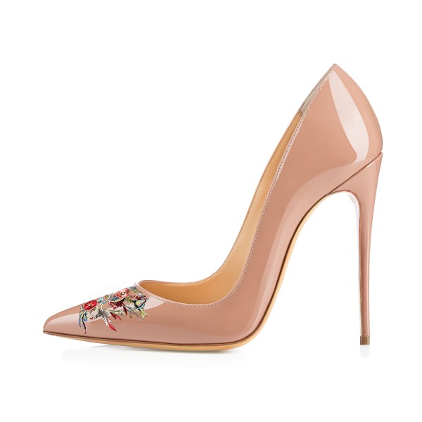 Women's Nude Pointed Toe Floral Office Heels Pumps image 2