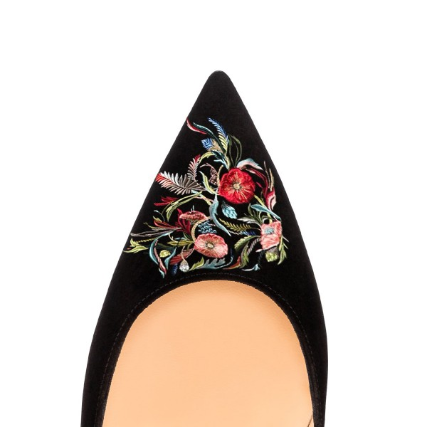 Women's Pointed Toe Black Suede Floral Office Heels Pumps image 3