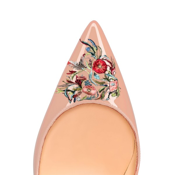 Women's Nude Pointed Toe Floral Office Heels Pumps image 3