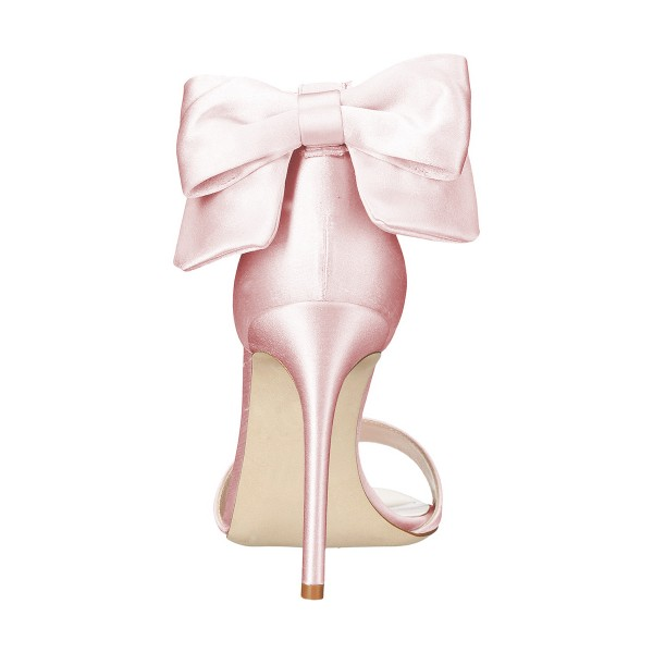 Women's Pink Ankle Strap Bow Stiletto Heel Bridal Sandals image 3