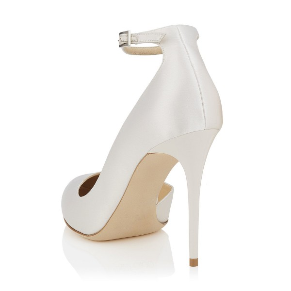Women's White Ankle Strap Heels Dorsay Stiletto Heel Pumps image 2
