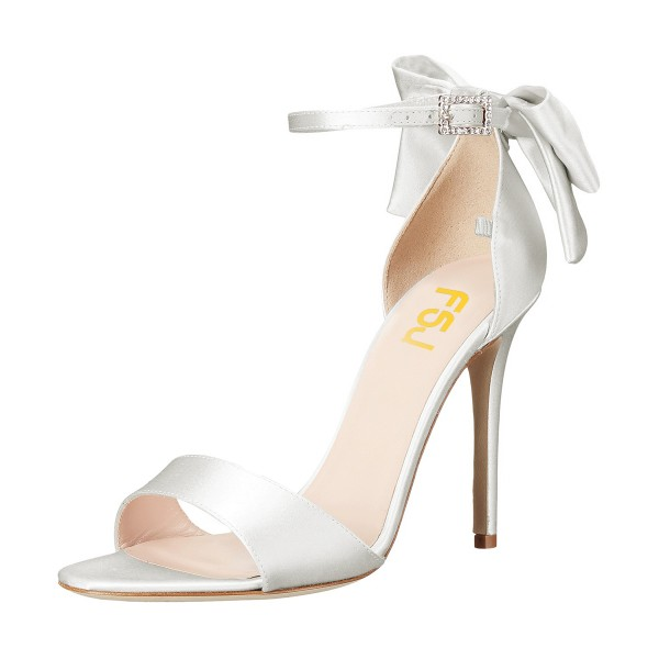 5684a2afb3c Women s White Ankle Strap Bow Stiletto Heel Bridal Sandals image ...